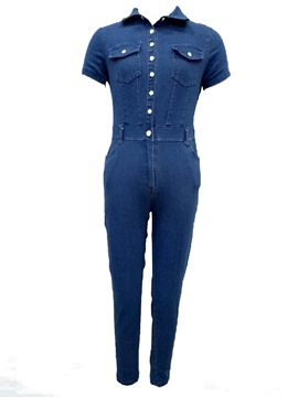 Ericdress Skinny Denim Button Women's Jumpsuit