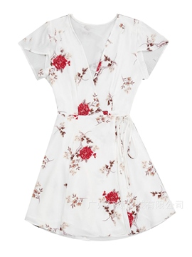 Ericdress Floral Off-White Print Women's Casual Dress