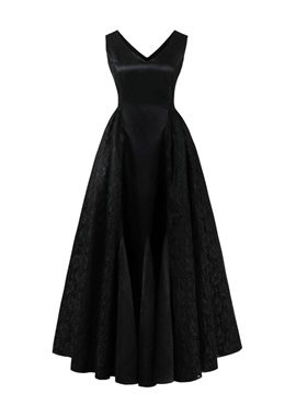 Ericdress V Neck Zipper-Up Lace A Line Prom Dress