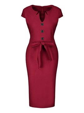 Ericdress Bowknot Pullover Short Sleeve Pencil Dress