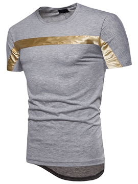 Ericdress Stripe Color Block Plain Mens T Shirt