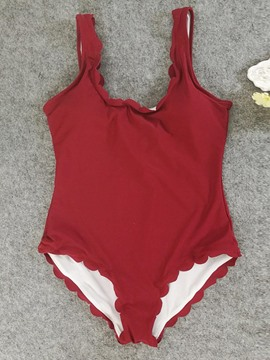 Ericdress Wave Cut Red Plain Beach One Piece Bathing Suits