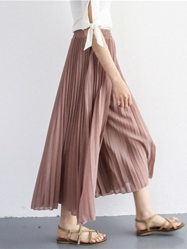 Ericdress Wide Leg Pleated Chiffon Women's Pants