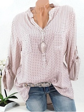 Ericdress Polka Dots V-Neck Mid-Length Long Sleeve Blouse