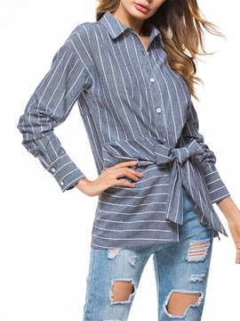 Ericdress Loose Single-Breasted Stripe Lapel Long Sleeve Blouse