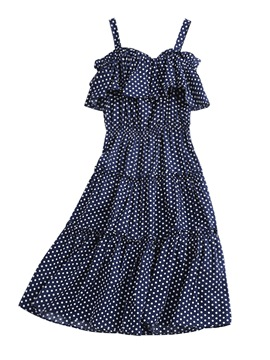 Ericdress Pullover Polka Dots Slash Neck Women's Casual Dress