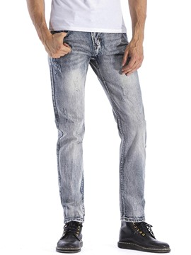 Ericdress Plain Worn Straight Mens Jeans