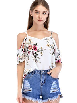 Ericdress Floral Print Pullover Spaghetti Straps Short Sleeve Blouse
