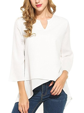 Ericdress V-Neck Loose Asymmetric Plain Long Sleeve Blouse