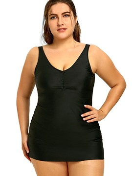 Ericdress Plus Size Black Plain Tankini Set
