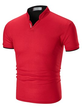 Ericdress Plain Slim V-Neck Mens Basic T Shirt