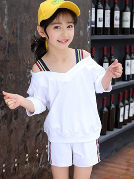 Ericdress Plain Stripe T Shirt & Shorts Girl's Summer Outfits
