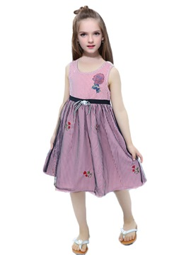 Ericdress Floral Print Appliques Mesh Baby Girl's Summer Dress