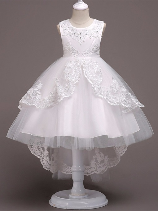 Ericdress Round Neck Bowknot Appliques Flower Girl Dress