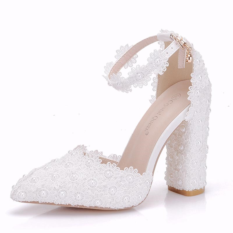Ericdress_Floral_Chunky_Heel_Pointed_Toe_Wedding_Shoes