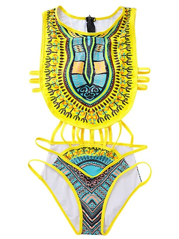 Ericdress Dashiki African Print Hollow Sexy One Piece Swimwear Monokini