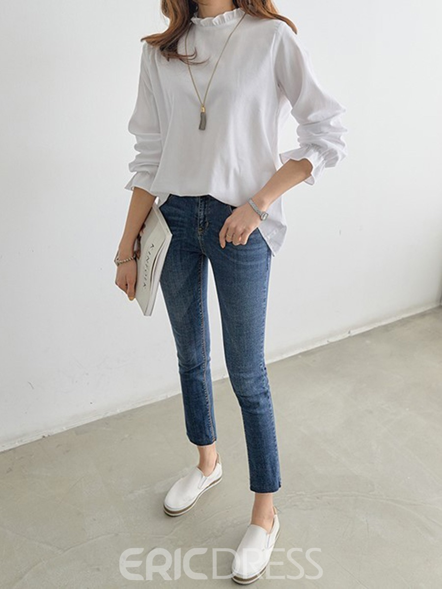 Ericdress Patchwork Stringy Selvedge Long Sleeve Blouse