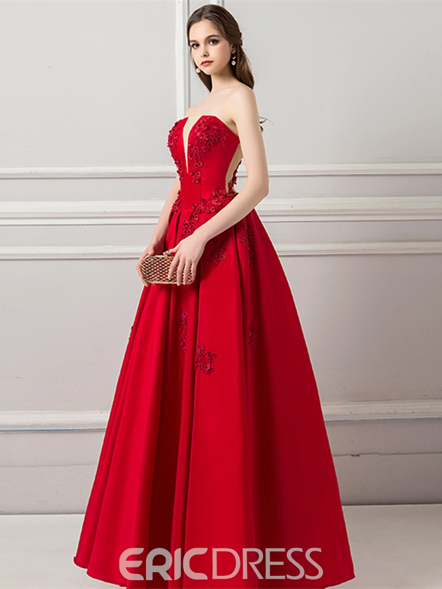 Ericdress Appliques A-Line Strapless Long Red Prom Dress