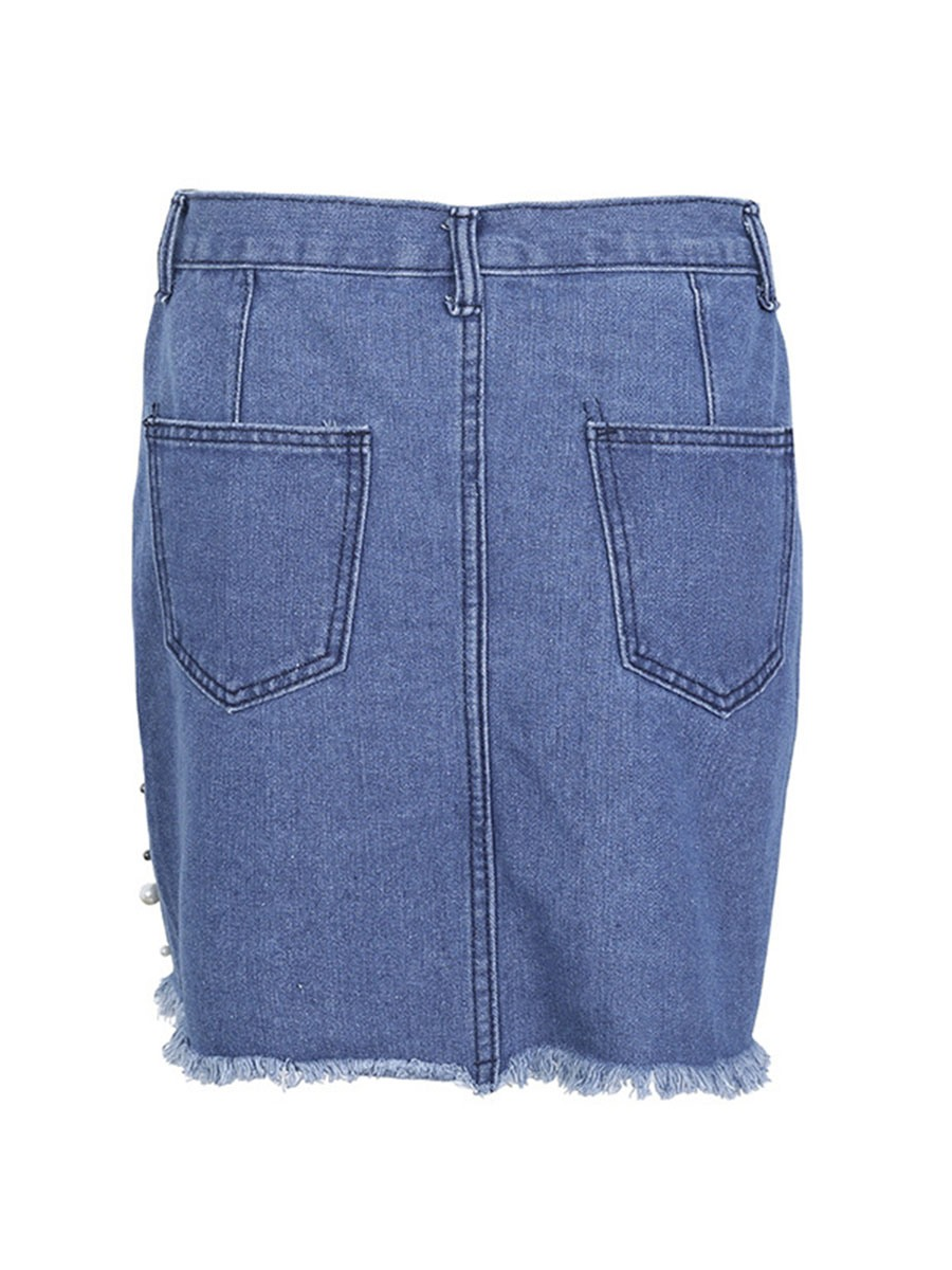 Ericdress Bead Denim Women's Mini Skirt