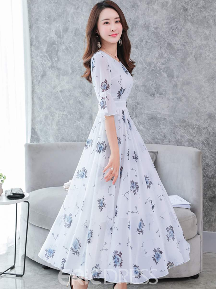 Ericdress V-Neck Floral Trumpet Flare Sleeve Maxi Dress