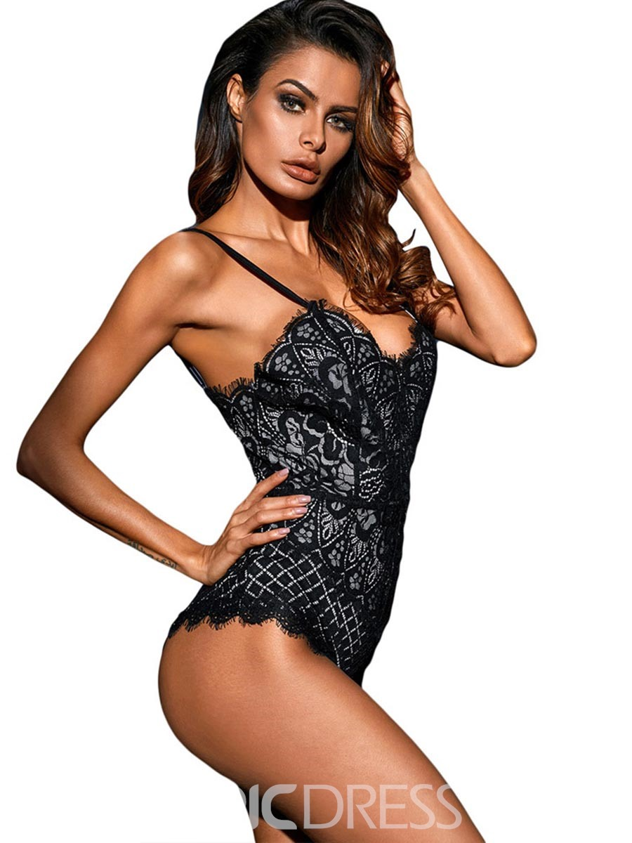 8d8c23e0f43 ... Ericdress Bodysuit Sexy Lingerie Tight Wrap Adjusted-Straps Lace Teddy  Bodysuit