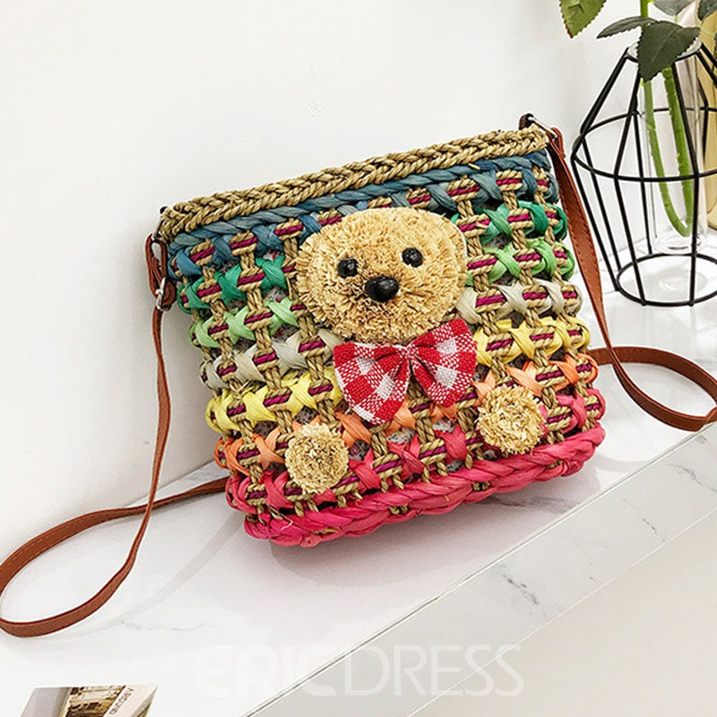 EricdressCute Bear Grass Knitted Shoulder Bag