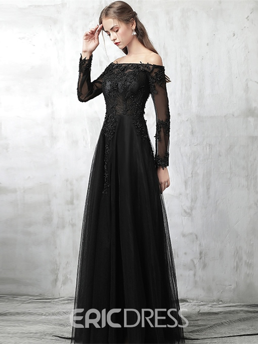 Ericdress A Line Long Sleeve Black Lace Prom Dress With Beadings