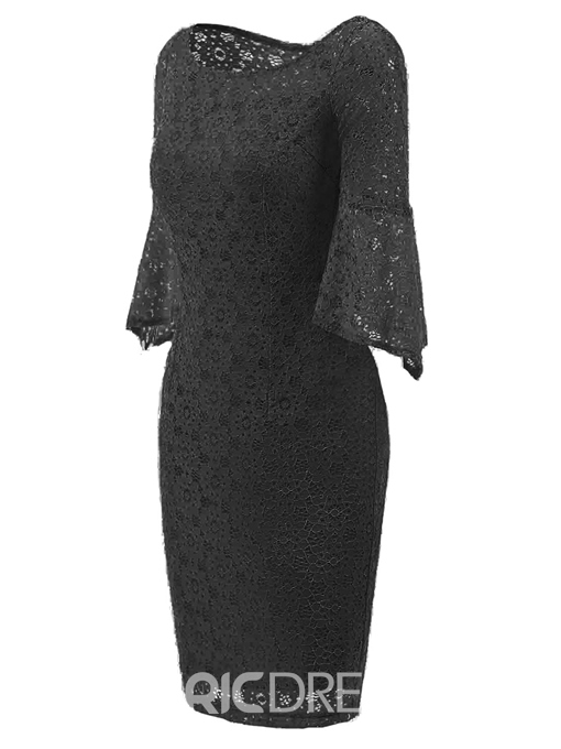 Ericdress Flare Sleeve Hollow Lace Bodycon Dress