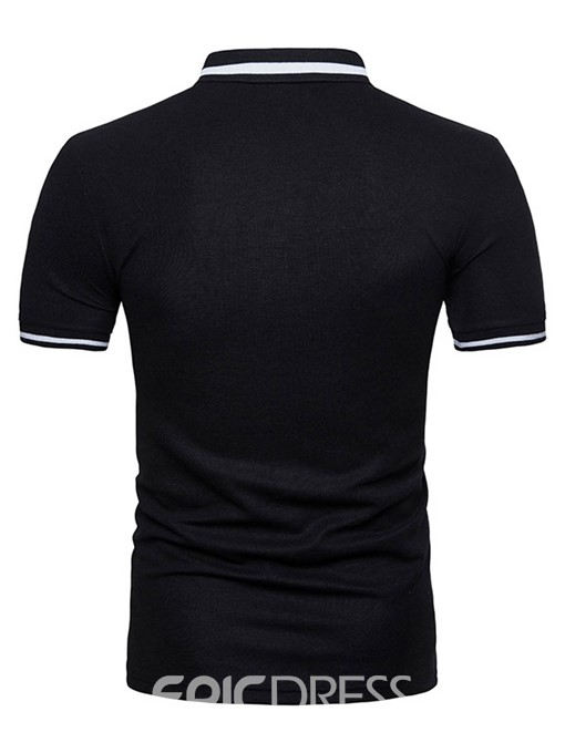 Ericdress Color Block Short Sleeve Lapel Mens Polo T Shirts