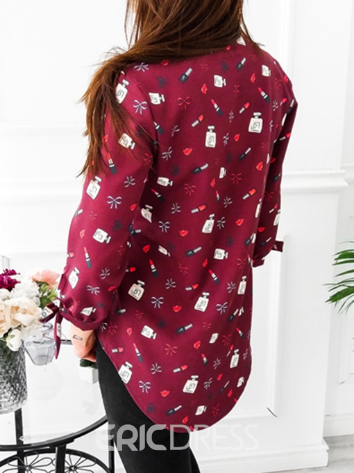 Ericdress Print V-Neck Print Floral Long Sleeve Mid-Length Blouse