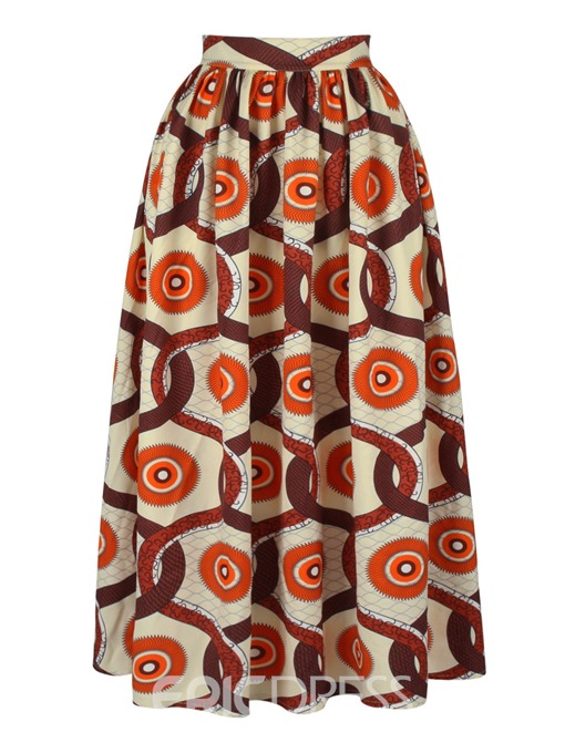 Ericdress Pleated Print Floor-Length Women's Skirt
