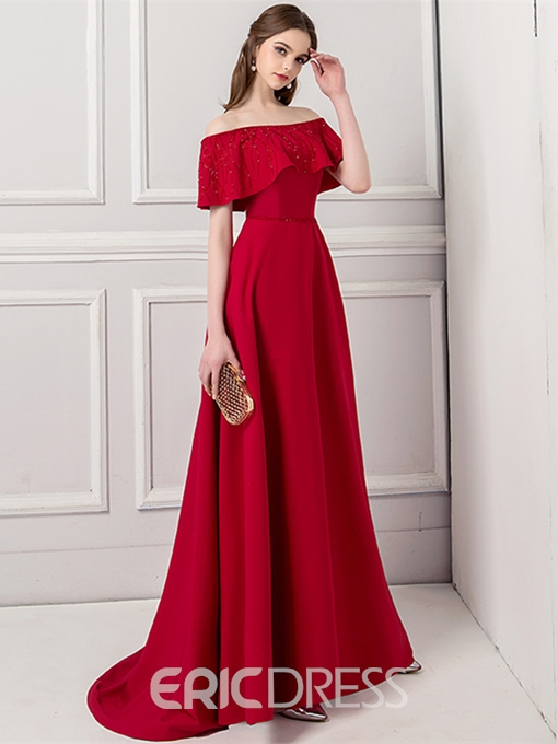 Ericdress A Line Off The Shoulder Red Prom Dress With Beadings