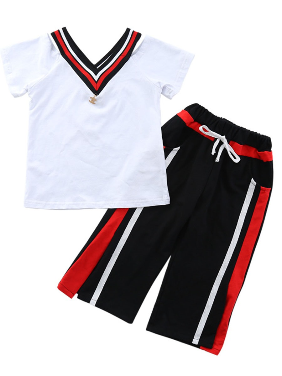 Ericdress Lace Up Stripe Pants Short Sleeve T Shirt Girl's Sports Outfits