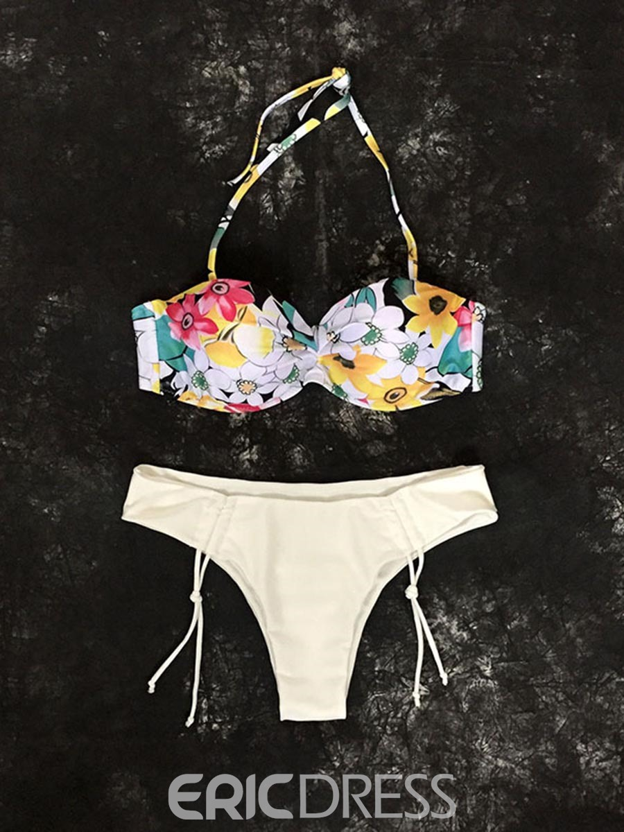 Ericdress Floral Halter Lace-Up Bikini Bathing Suits