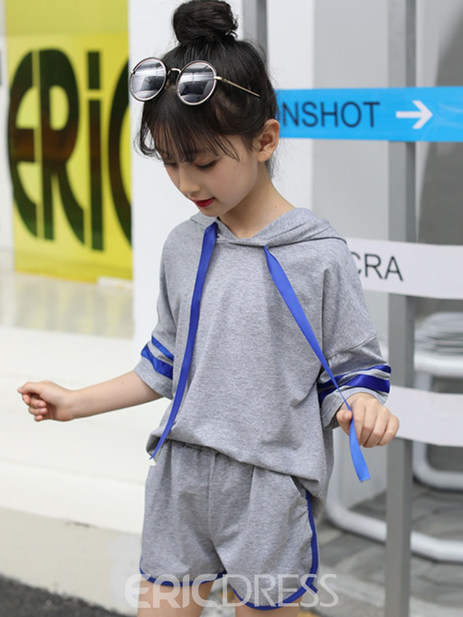 Ericdress Stripe Half Sleeve Hoodie & Shorts Girl's Outfits
