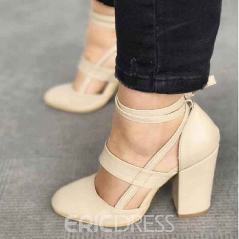 Ericdress Lace-Up Round Toe Chunky Heel Pumps