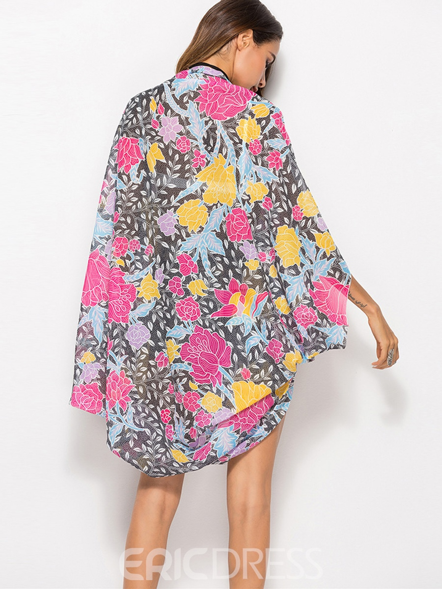 Ericdress Floral Print Thin Long Sleeve Cape