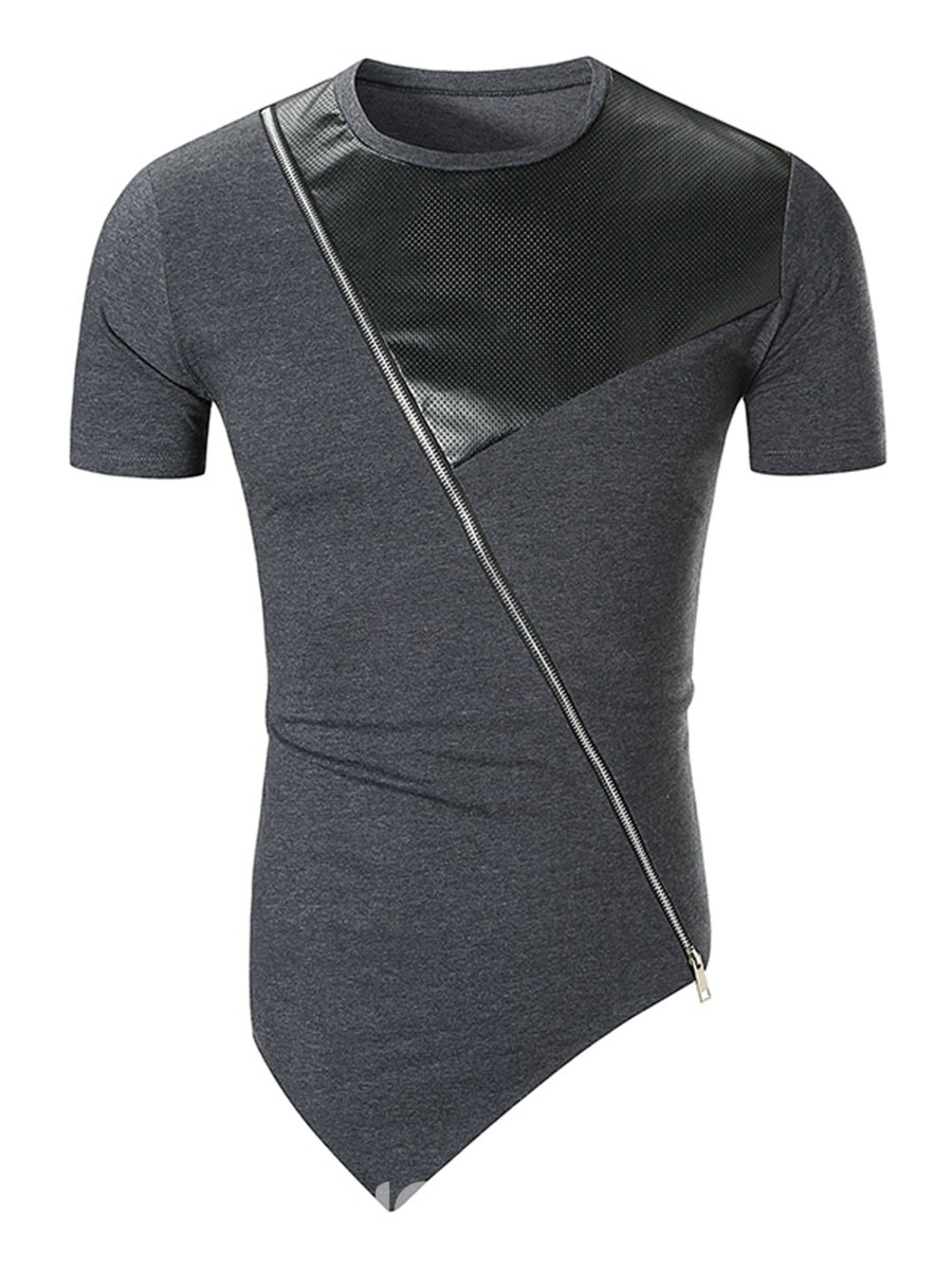 Ericdress Asymmetric Patchwork Mens Slim Zipper T Shirt
