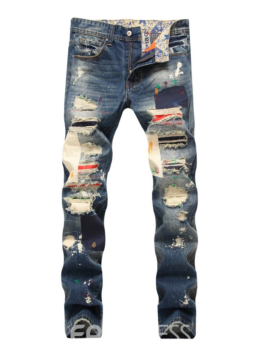 Ericdress Worn Hole Straight Mens Jeans