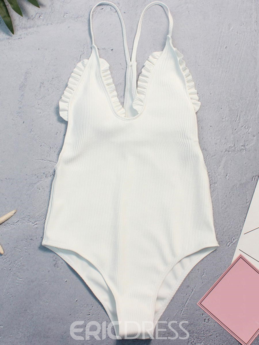 Ericdress Plain Pleated One Piece Bathing Suits