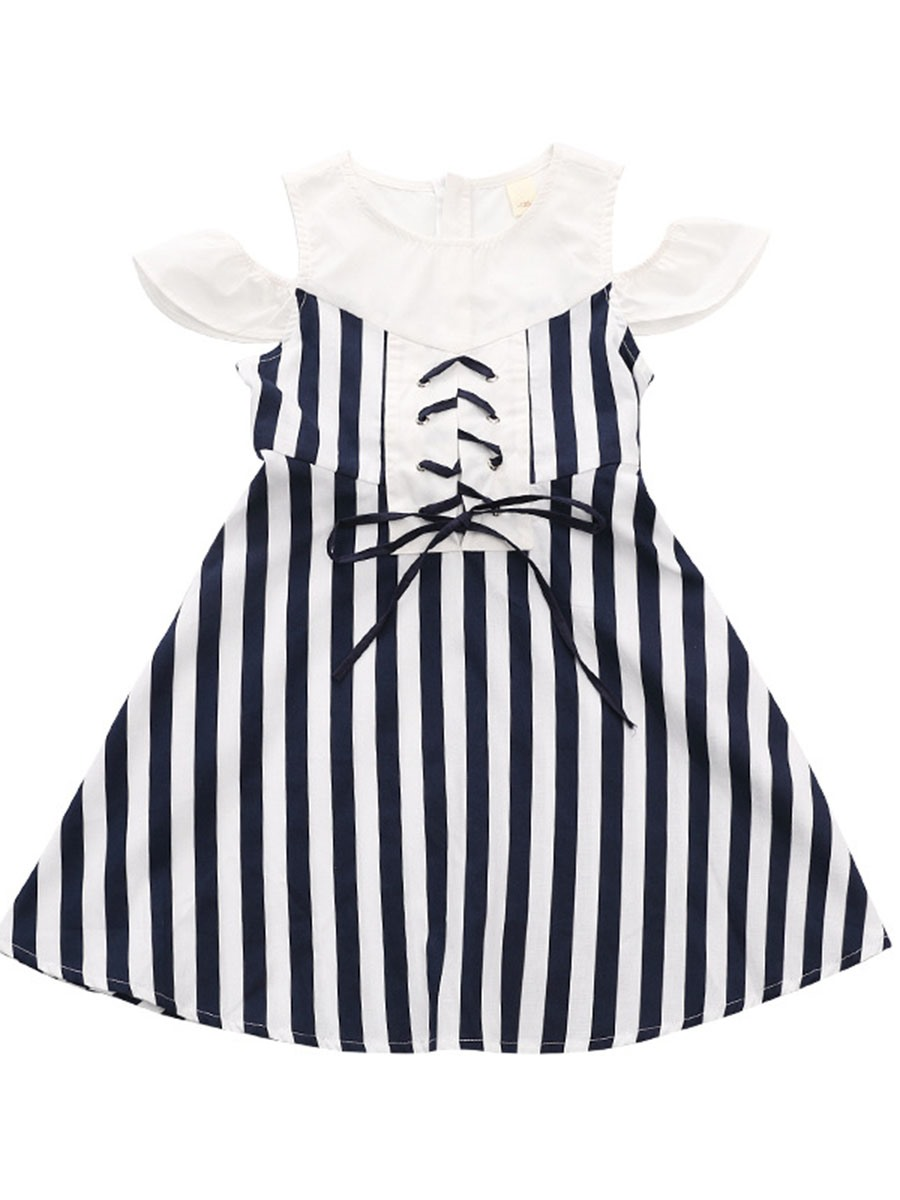 Ericdress Stripe Lace Up Bowknot Girl's Summer Dress