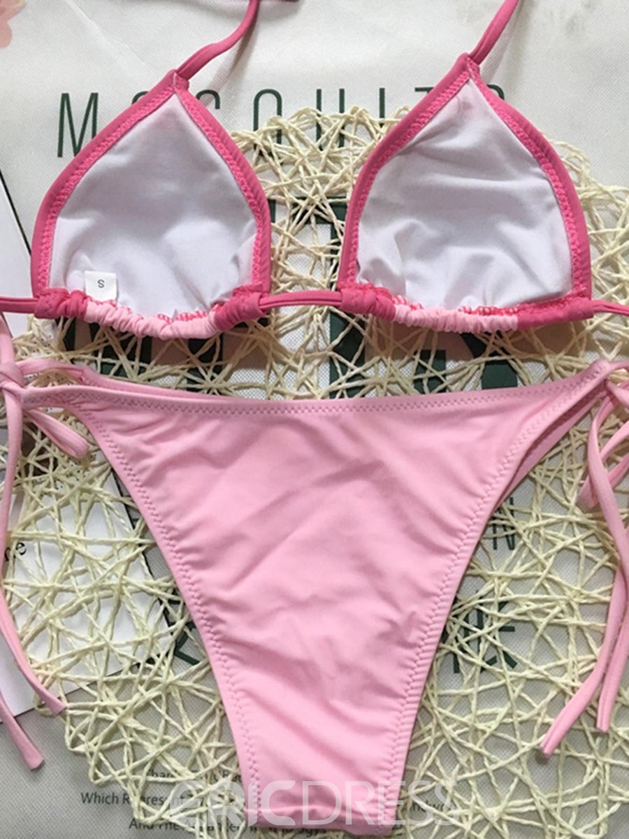 Ericdress Pink Color Block Lace-Up Bowknot Beach Bikini Bathing Suits
