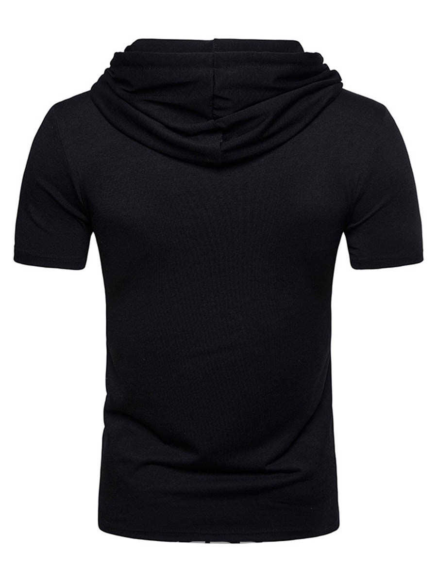 Ericdress Patchwork Color Block Hooded Mens Short Sleeve T Shirts