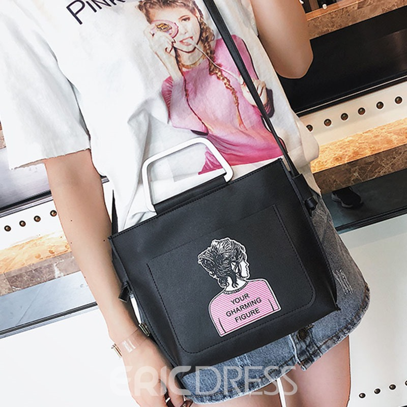 Ericdress Character Pattern Zipper Tote Bag