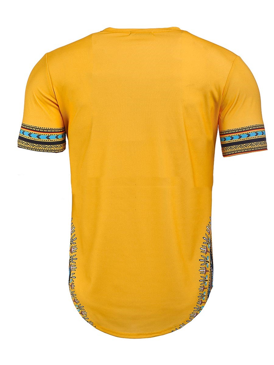 Ericdress Dashiki African Print Bright Color Mens T Shirt