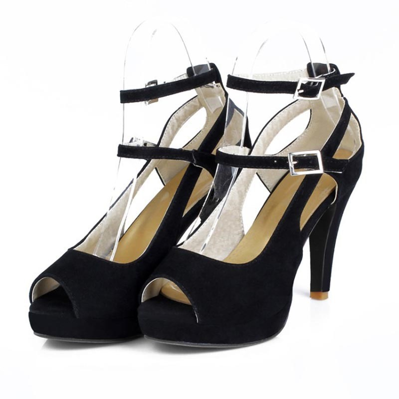 Ericdress Contrast Color Buckle Peep Toe Chunky Sandals