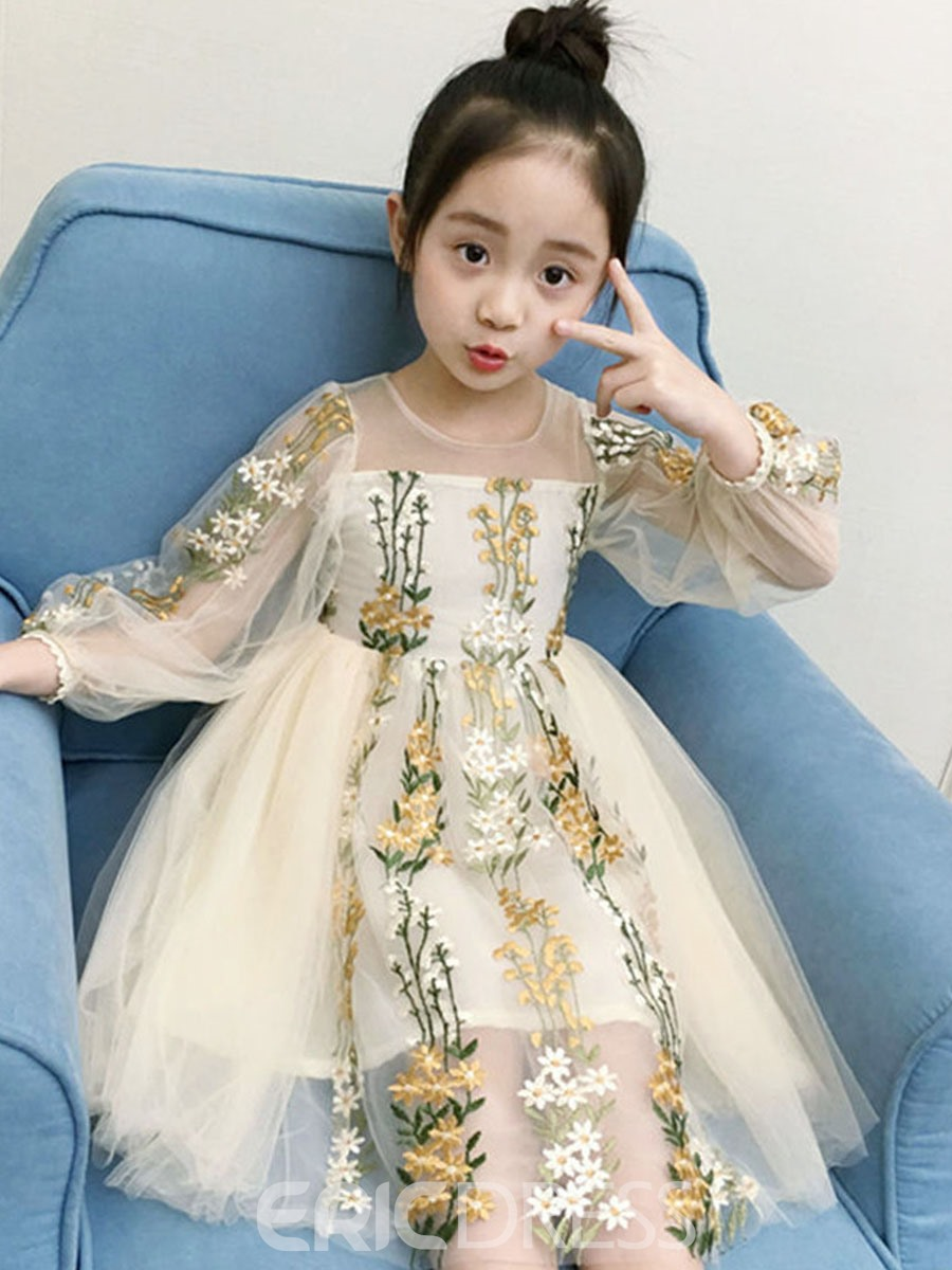Ericdress Embroidery Mesh Floral Print Girl's Ball Gown Dress