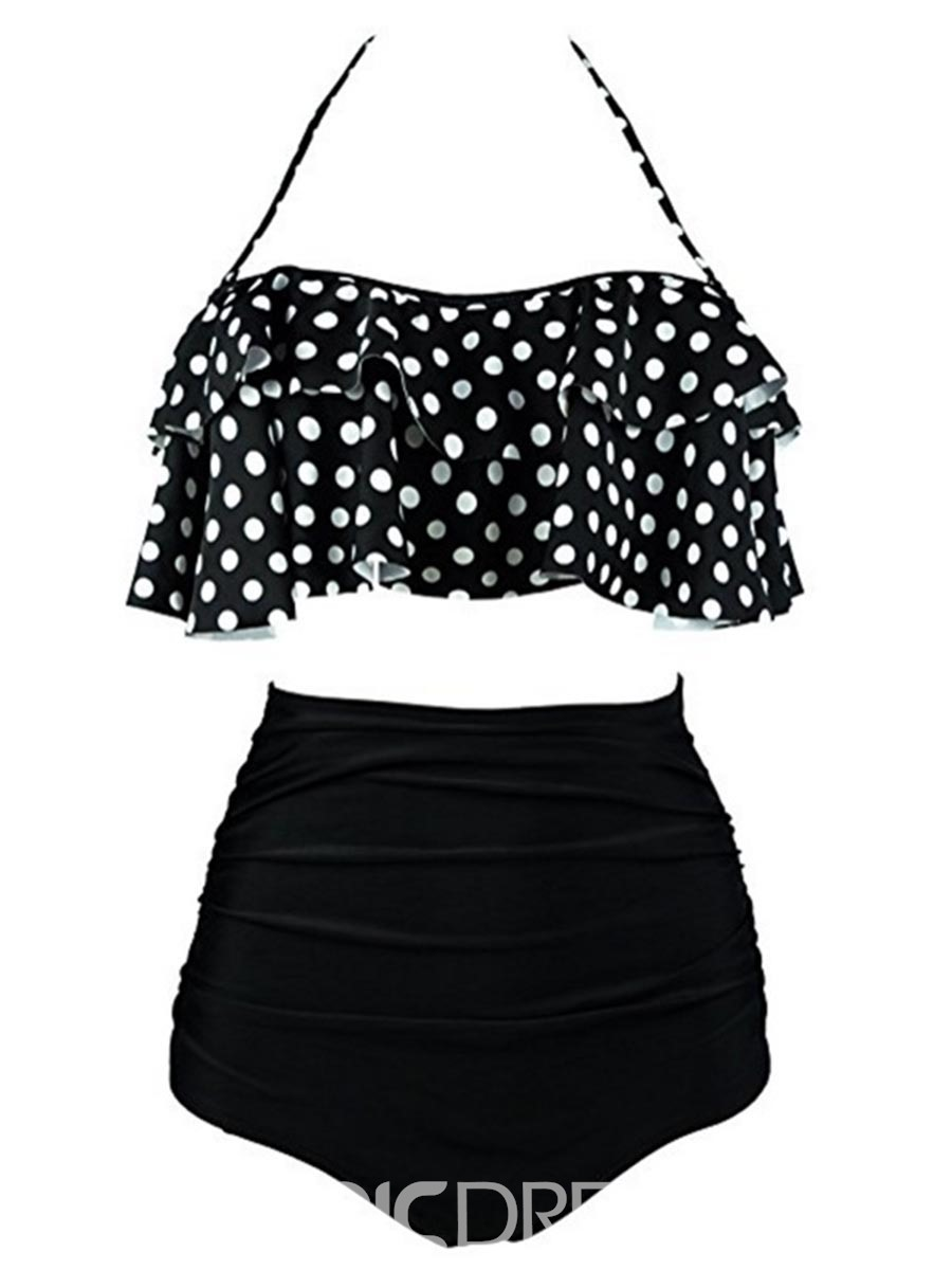 Ericdress Plus Size High Waist Ruffles Pleated Stripe Polka Dots Floral Plain Bathing Suits