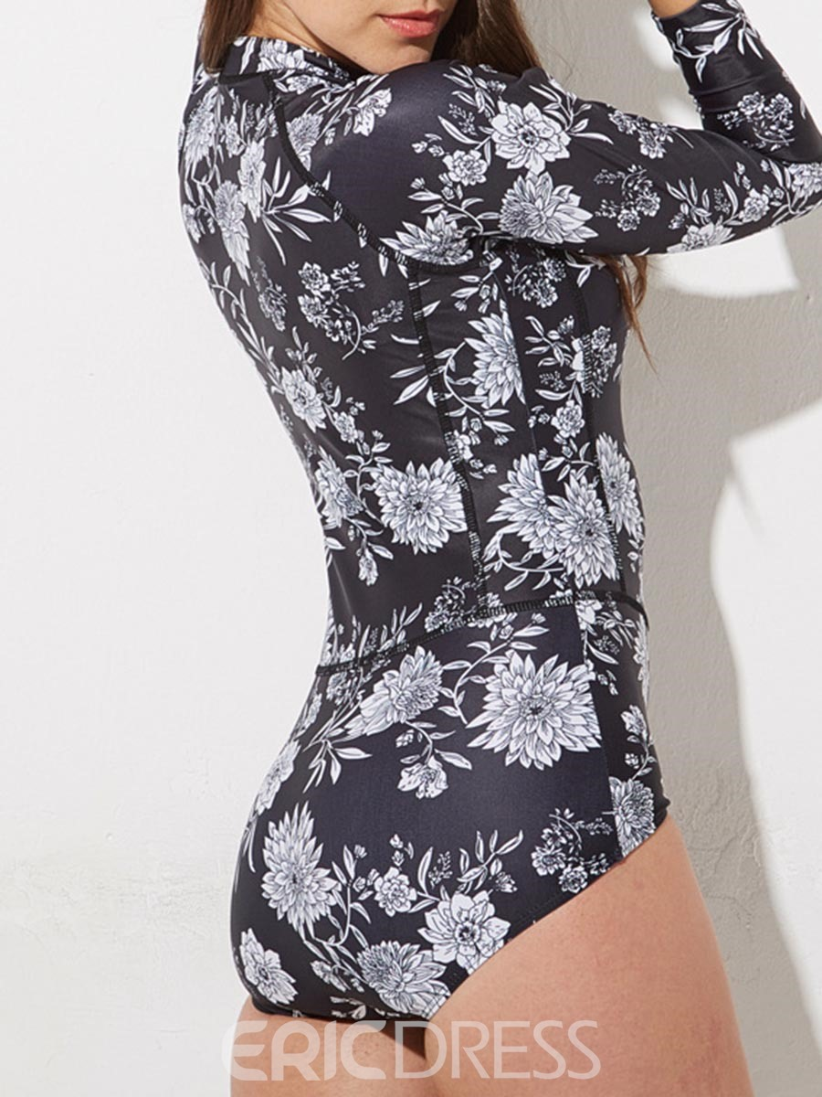Ericdress Floral Long Sleeve Front Zipper One Piece Bathing Suits