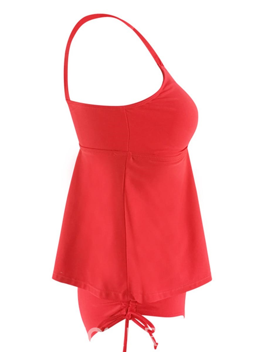 Ericdress Red Plain Pleated Tankini Bathing Suits
